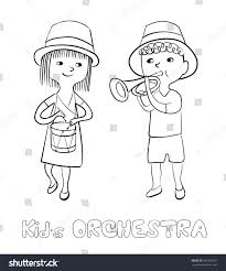 children musical instruments kids orchestra coloring stock vector
