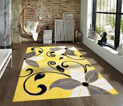 Yellow And Gray Rugs Yellow Contemporary Rug Floral Design Carpet Discount Area
