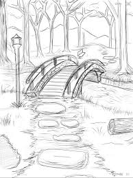 drawing of a bridge over water drawing of a bridge over water