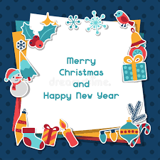 happy new year invitation merry christmas and happy new year invitation card stock vector