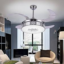 Retractable Ceiling Light Colorled Silver Retractable Blades Indoor Ceiling Fan With Light