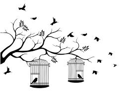 uccelli in gabbia quadro su tela illustrazione di uccelli in volo con un per l