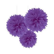 purple decorations purple fluffy party decorations pom poms tissue paper party