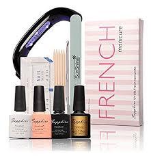 amazon com led lamp french manicure kit 4 colors sapphire uv gel