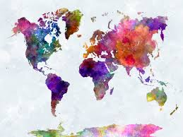World Map Art World Map In Watercolor Painting Abstract Splatters Stock Photo