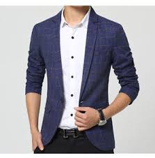 casual blazer slim fit suit check pattern coat s fashion casual jacket