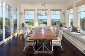 Cottage Dining Room With French Doors  Wall Sconce In Kiawah - Dining room with french doors