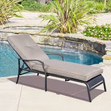 Poolside Chair Gym Equipment Outdoor Patio Adjustable Cushioned Pool Chaise
