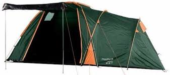 regatta large 4 man 2 room family tent with awning porch area
