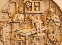 wood carving from aosta italy log cabin cooking