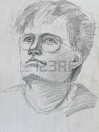hand drawing picture pencil an old man sketch stock photo