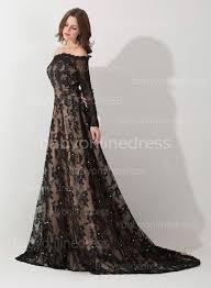 new eevning dresses off the shoulder long sleeve black lace
