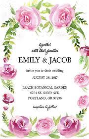 Printable Wedding Invitations Print Watercolor Rose Free Printable Wedding Invitations