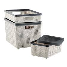 grey cottage woven storage bins the container store