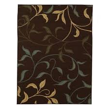 Leaf Area Rug Ottomanson Leaves Design Brown 3 Ft 3 In X 5 Ft Non Skid Area