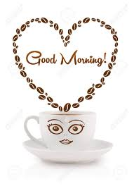 Heart Shaped Mug by Coffee Mug With Coffee Beans Shaped Heart With Good Morning Sign