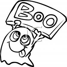 halloween graphic design element of a ghost holding a boo sign