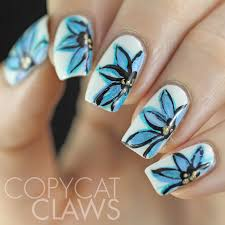 copycat claws freehand blue flower nail art nails pinterest