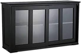 glass kitchen cabinets sliding doors 42 inch kitchen storage cabinet stackable multifunctional buffet storage cabinet with sliding door tempered glass panels stackable sideboard