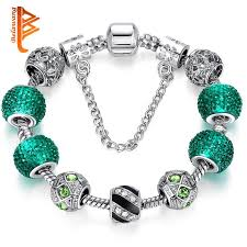 fashion jewelry charm bracelet images Newest elegant silver diy charm bracelet for women chain green jpg