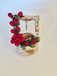 napoleon italy porcelain small wishing well in porcelain with velvet roses made by