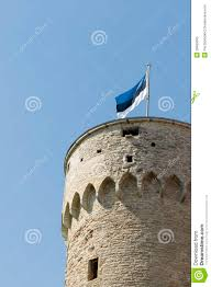 Estonian Flag Estonian Flag On Tall Hermann Stock Image Image 28463005
