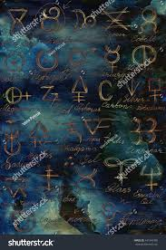 magic halloween background mystic background shining alchemic signs halloween stock