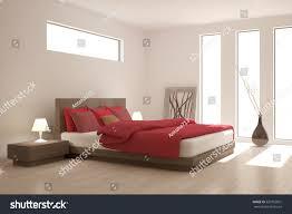 white bedroom scandinavian interior design 3d stock illustration