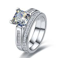 diamond wedding ring sets for 2 ct center nscd sona simulated diamond princess radiant cut wedding