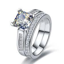 princess cut wedding ring 2 ct center nscd sona simulated princess radiant cut