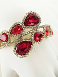 red crystal bracelet images Ruby red crystal rhinestone bypass style clamper bracelet blue jpg