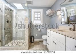 White Cabinet Bathroom Spacious Bathroom Gray Tones Heated Floors Stock Photo 557515918