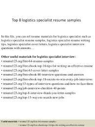 Program Specialist Resume Sample by Logistics Specialist Linkedin