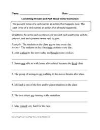 converting present to past verb tenses worksheet verbs