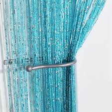Turquoise Sheer Curtains New Tassel String Curtain Window Door Divider Sheer