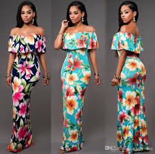cheap summer maxi floral printed dresses women dresses 2017