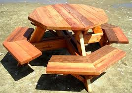 Free Large Octagon Picnic Table Plans by Picnic Table With Attached Benches Outdoorlivingdecor