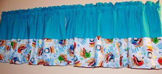 color block thomas the train turquoise valance boys room window
