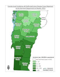 Map Of Vermont Towns Lyme Disease Vermont Department Of Health