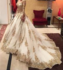 Wedding Dress With Train 2017 A Line Wedding Dresses With Gold Appliques Sheer Long Sleeves
