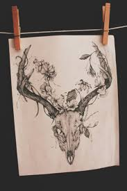 flowers on thigh deer with flowers antlers tattoo on thigh photos pictures and