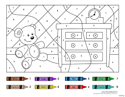 with calculation a little cartoon bear color by number coloring