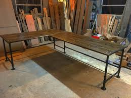 Diy Desk L Industrial Pipe L Shaped Desk Within Industrial L Shaped Desk