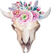 bull skull with floral crown prints by joellis redbubble