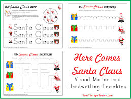 santa writing paper christmas archives your therapy source here comes santa claus visual motor freebie