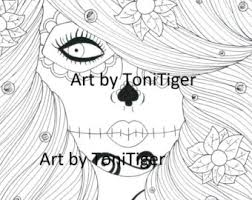 dead flower coloring page adult coloring page sugar skull girl art day of the dead