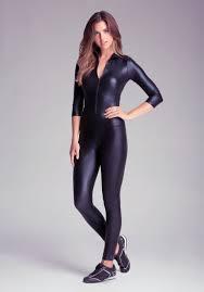 bebe jumpsuit lyst bebe wetlook jumpsuit in black