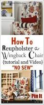 Knock Off No Sew Dining Reupholstering A Wingback Chair A No Sew Method Wingback Chairs