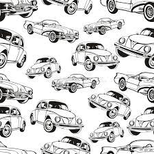 vintage car seamless pattern black white retro cartoon