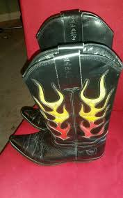 womens size 9 tex boots el alamo cowboy boots leather flames womens wear size